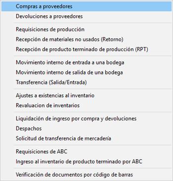 Módulo de Inventarios Ingreso de Documentos