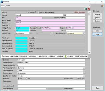 Pantallazo crear cliente información general