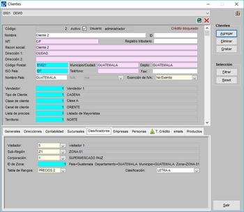 Pantallazo crear cliente con clasificadores