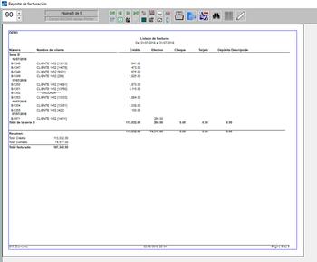 Pantallazo listado de facturas al contado con forma de pago