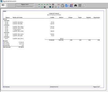 Pantallazo listado de facturas al contado con forma de pago exportación