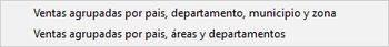 Pantallazo de ventas por país, departamento, municipio y zona.