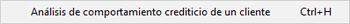 Pantallazo análisis de comportamiento crediticio de un cliente