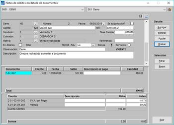 Pantallazo notas de débito con aplicacion a un documento cobros