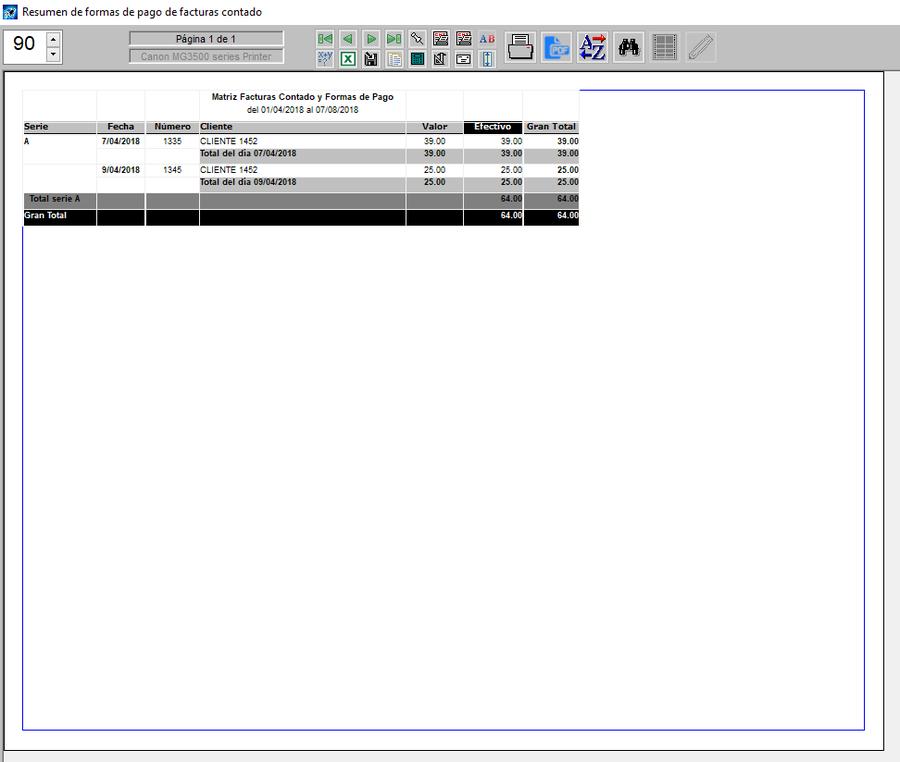 Pantallazo de reporte de facturas al contado recibos virtuales