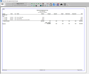 Pantallazo resumen de operaciones de caja 1