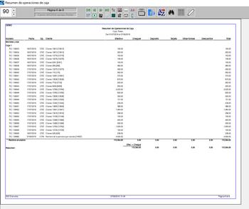 Pantallazo de resumen de operaciones de caja con moneda local