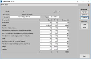 Formulario SAT 1063 módulo de pagos