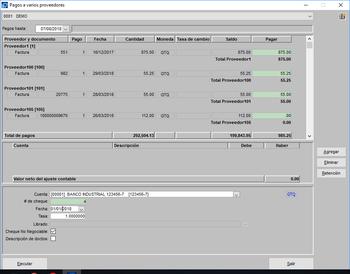 Generación de pagos varios proveedores un cheque para cada uno módulo de pagos