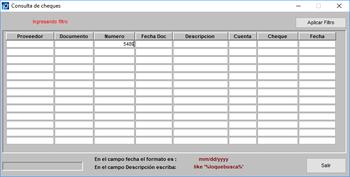 Consulta cheques documentos CXP en el sistema módulo pagos