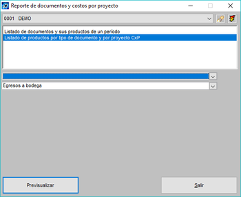 Pantallazo reporte de documentos y costos por proyecto