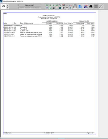 pantallazo de impresión de kárdex por empresa de un producto