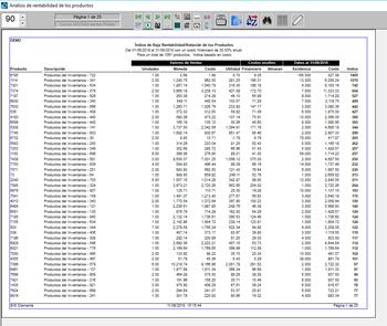 Pantallazo indice de baja rentabilidad