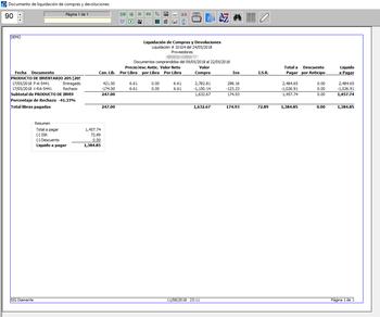 Pantallazo liquidación por compra y devoluciones