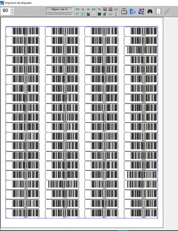 Pantallazo de impresión de barra con código.