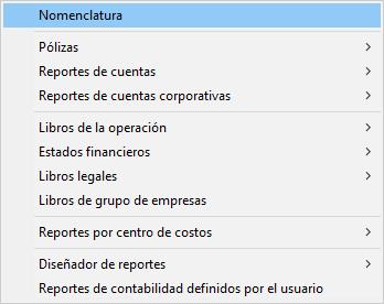 Pantallazo reportes del módulo de contabiidad