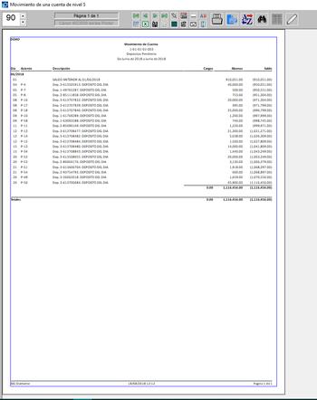 Pantallazo de movimiento de cuenta contable
