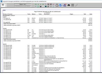 Pagos pendientes a una fecha agrupados por mes de operación en la contabilidad