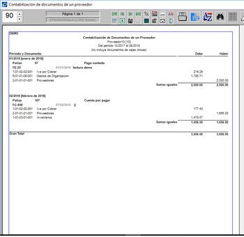 Contabilización de documentos de un proveedor