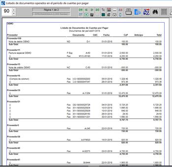 Reportes listados de documentos por sub-módulos de operación