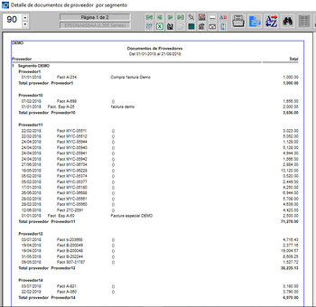 Listado agrupado por segmento proveedor