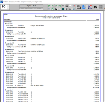 Listado agrupado por origen proveedor