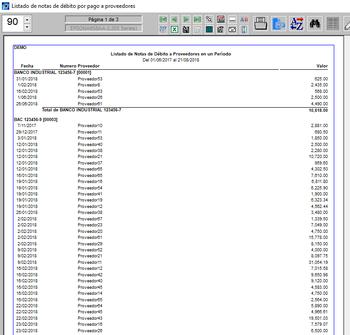 Listado de notas débito por pago a proveedores