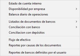 Pantallazo reportes del módulo de bancos