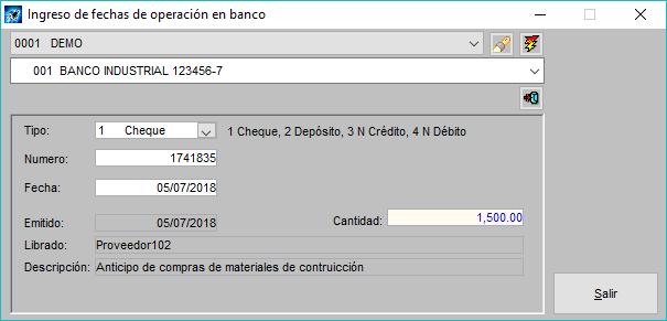 Pantallazo conclliación de fechas de operación en banco