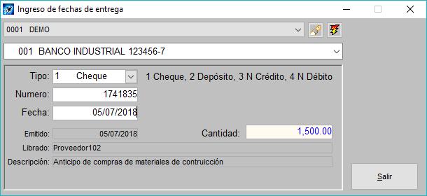 Pantallazo ingreso de conciliación de fechas de entrega