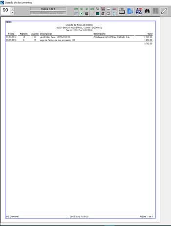 Pantallazo listado de notas de débito
