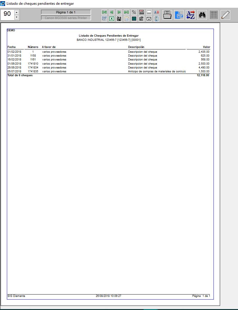 pantallazo de listado de cheque pendiente de entregar