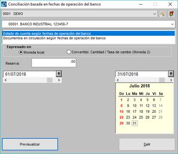 Pantallazo conciliación basada en fechas operaciones del banco