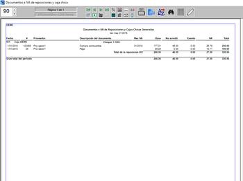 Pagos listado de documentos e IVA en reposiciones y caja chica