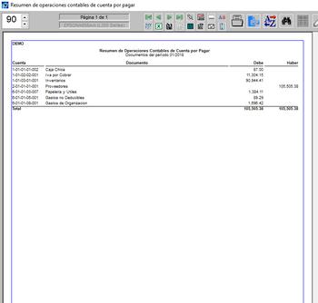 Pagos resumen de operaciones contables