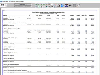 Pagos documentos de proveedores agrupados por cuentas contables. Base e IVA prorrateadas