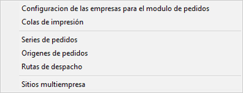 pedidos configuración modulo de pedidos
